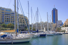 Malta marina. The marina at St Julians in Malta with yachts in the foreground Stock Photography