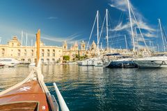 Malta marina seen from traditional wooden boat.  Royalty Free Stock Photo