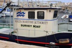Malta Maritime Authority survey boat. A survey vessel belonging to the Maltese Maritime Authority moored in Marsamxett Harbour in Valletta, Malta Stock Photo