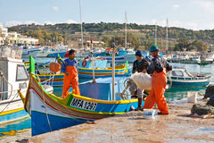 Malta - Marsaxlockk. Fishermen from Marsaxlockk, small port in Malta Stock Photos