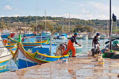 Malta - Marsaxlockk. Fishermen from Marsaxlockk, small port in Malta Royalty Free Stock Images