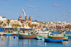 Malta - Marsaxlockk. View from Marsaxlockk port in Malta with famous boats Stock Photo