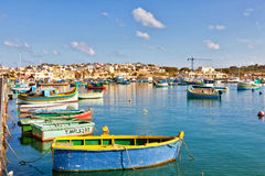Malta - Marsaxlockk. View from Marsaxlockk port in Malta with famous boats Stock Photography