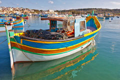 Malta - Marsaxlockk. View from Marsaxlockk port in Malta with famous boats Stock Image
