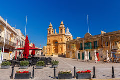 Malta. Marsaxlokk. Central square. Stock Photo