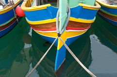 Malta, Marsaxlokk: Pisturesque, high-colored fishermen boats Stock Photography