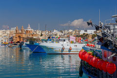 Malta. Marsaxlokk. Traditional fishing boats. Fishing boats in the harbor Marsaxlokk. Malta Royalty Free Stock Images