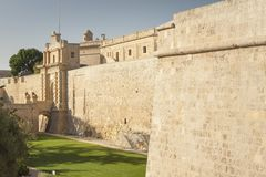 Malta, Mdina, City Walls. Seen from the moat or ditch Royalty Free Stock Image