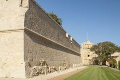 Malta, Mdina, City Walls. Seen from the moat or ditch Stock Photos