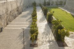 Malta, Mdina, City Walls. Seen from the moat or ditch Royalty Free Stock Images