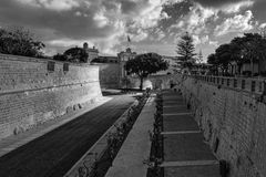Malta. Mdina. Entrance to the city. Black and White. Views of the old Maltese city Stock Photo