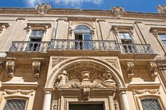 Malta, Mdina: Luxury Baroque architecture. Landscape of St. Pauls`s Cathedral, built in Baroque architecture style in Mdina, Malta. It is locate in the centre of Royalty Free Stock Photography