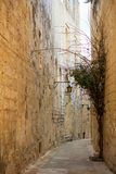 Malta, Mdina. Old medieval city narrow streets, houses sandstone facades. Mdina, Malta island. Old medieval city narrow streets, houses sandstone facades and Stock Image