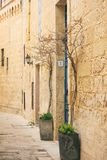 Malta, Mdina. Old medieval city narrow streets. Mdina, Malta island. Old medieval city narrow streets, houses sandstone facades Royalty Free Stock Photography