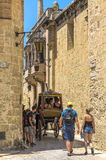 The medieval citadel of Mdina. Narrow street in the Silent City, government and administrative centre during the medieval period, Mdina, Malta Royalty Free Stock Image