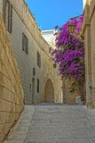 The medieval citadel of Mdina. Narrow street in the Silent City, government and administrative centre during the medieval period, Mdina, Malta Royalty Free Stock Images