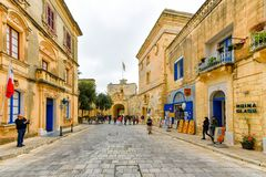 Malta, Mdina street view. Mdina city street view. It is a fortified city in the Northern Region of Malta, which served as the island`s capital from antiquity to Stock Image