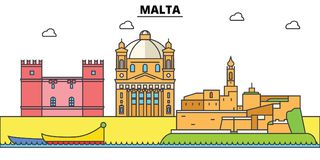 Malta, Mediterranean sea. City skyline, architecture, buildings, streets, silhouette, landscape, panorama, landmarks Royalty Free Stock Photos
