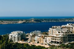 Malta in the Mediterranean Sea. Malta island in the waters of the Mediterranean Sea Stock Photos