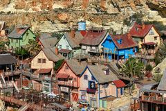Wooden houses of Popeye village Mellieha, Malta, aerial view. MALTA, Mellieha village: The houses of Popeye Village. Popeye Village was used as the set for Stock Image