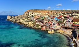 Bay of Popeye village Mellieha, Malta, aerial view. MALTA, Mellieha village: The skyline of Popeye Village. Popeye Village was used as the set for Robert Altman` Stock Photography