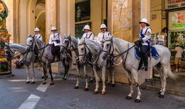 Malta Mounted Police. VALLETTA, MALTA - JULY 11: Malta mounted police on the republic street Stock Images