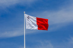 Malta. National Flag. National flag of Malta against the blue sky in Valletta Stock Images