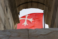 Malta National Flag. Flying Malta National Flag - White cross on red Royalty Free Stock Photos