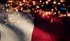 Malta National Flag Light Night Bokeh Abstract Background. Art Stock Images