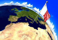 Malta national flag marking the country location on world map. 3D rendering, parts of this image furnished by NASA. 3D render of the national flag of Malta over Royalty Free Stock Image
