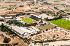 Malta - National stadium. Malta - countryside from aircraft, fields and meadows, Zebbug city - National stadium Royalty Free Stock Photo