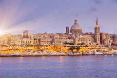Malta. Night view of Valletta from Sliema. Valletta with Our Lady, Malta Royalty Free Stock Photos