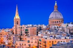 Malta, La Valletta and Silema. Malta nightview of Marsamxmett Harbour and Silema city, Valletta Royalty Free Stock Photos