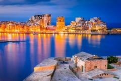 Malta, La Valletta and Silema. Malta nightview of Marsamxmett Harbour and Silema city, Valletta Royalty Free Stock Image