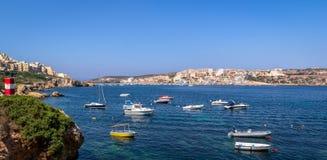 Malta North Coast. Coast of Xemxija, Malta, full of boats Royalty Free Stock Image
