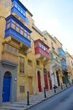Valletta Picturesque Neighborhood, Colorful Enclosed Balconies, Malta Capital, Travel Europe. Malta, November, 2017 - La Valletta, capital city of this european Stock Photography
