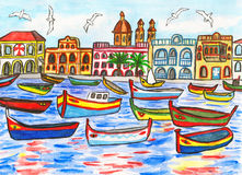 Malta, painting. Malta landscape, hand painted picture, gouache and watercolours Royalty Free Stock Photo