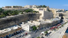 Malta panorama. Aerial panorama of streets and Lascaris Fortress of Valletta, Malta Royalty Free Stock Images