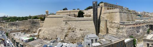 Malta panorama. Aerial panorama of streets and Lascaris Fortress of Valletta, Malta Royalty Free Stock Photography