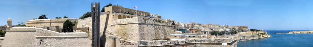 Malta panorama. Panorama of city of Valletta, Malta featuring the fortresses Royalty Free Stock Images