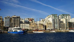 Malta - Panorama of Sliema. Modern architecture of a pleasant seaside resort - Sliema, Malta Royalty Free Stock Photos