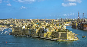 Malta - Panorama of Three Cities. Impressive view of the Three Cities across Grand Harbour from Valletta Stock Photography