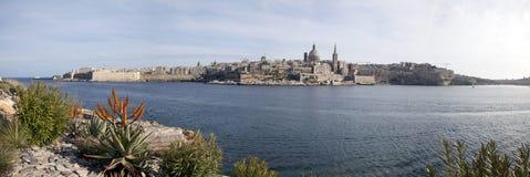 Malta panorama valletta Royaltyfria Foton