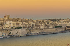 Malta - Panorama of Valletta. Impressive view of the Maltese capital across Grand Harbour from Vittoriosa - Valletta, Malta Royalty Free Stock Images