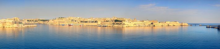 Malta, panorama of Valletta from Kalkara peninsula across the Gr. Malta, panoramic view on Valletta with its traditional architecture taken from the tip of Royalty Free Stock Images