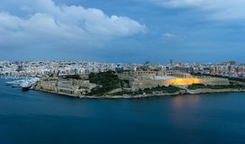 Panoramic view of Marsamxett Harbour, Malta. Malta. Panoramic view of Marsamxett Harbour and Manoel Island from the walls of Valletta in the morning Royalty Free Stock Images
