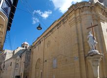Malta, Rabat: Medieval, religious architecture. Landscape of traditional Medieval, religious architecture in Rabat, Malta. It is well known due of sculptures of Stock Photography