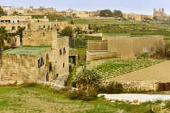 Malta rural residential area. View with agricultural fields Stock Photo