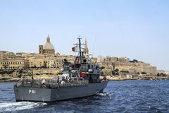 Malta's guard ship. A picket ship during a patrol control Stock Photography