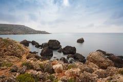 Malta's seascape. Maltese rocky seascape, island's west side, Gnejna Bay, Malta Stock Photography